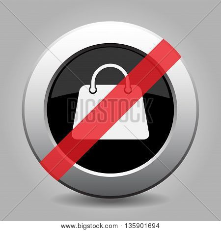 gray chrome button with no handbag - banned icon