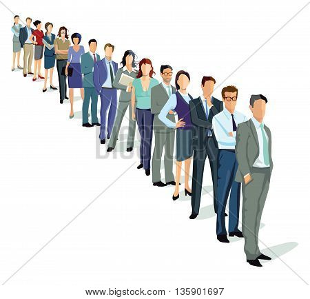 people in a row, standing waiting group,