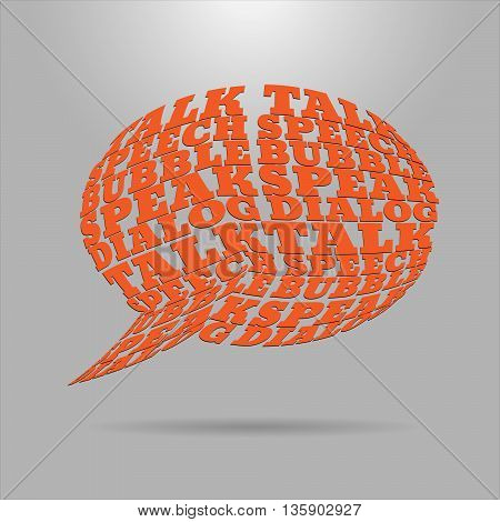 Shaped letters vector. Text wrap effect. Chat bubble created with envelope distort feature.