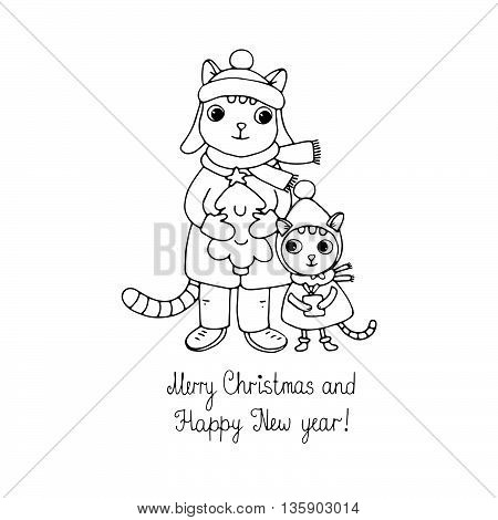 Two cute cartoon cat, tree and a gift. Hand drawn vector illustration. Happy New Year and Merry Christmas