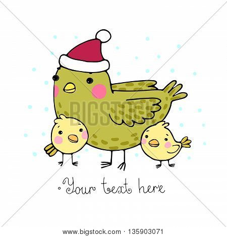 Cute cartoon Bird with chicks in the hat. Hand drawn vector illustration.