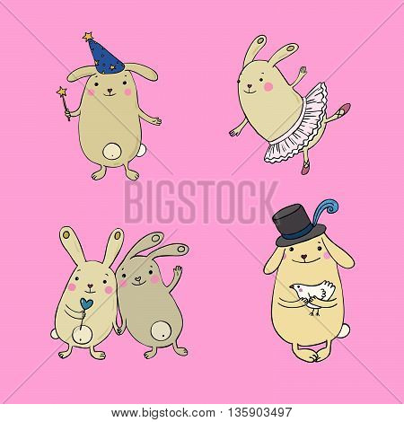 Funny bunnies on a white background. Hand drawn vector.
