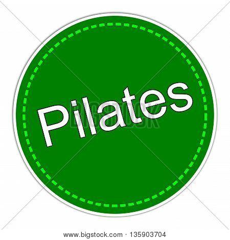 green Pilates sticker on white Background - illustration