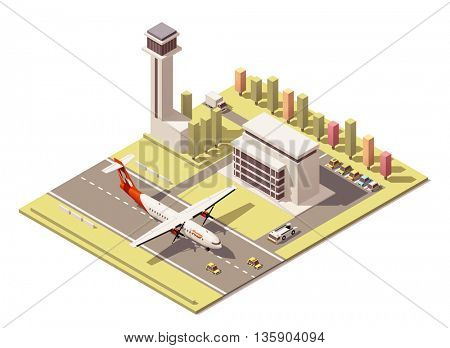 Vector Isometric icon or infographic element representing low poly airport terminal with traffic control tower, landing propeller airplane, ground support vehicles