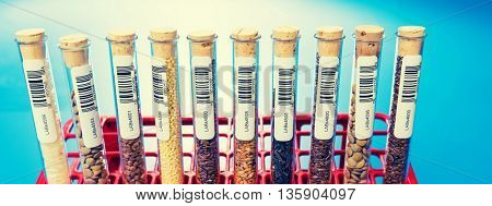 agricultural grains and legumes in the laboratory. Design of the label is specially created for this shot.