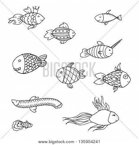 Cartoon funny fish. Hand drawn vector stock illustration. Black and white whiteboard drawing.