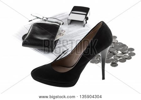 Elegant high heel shoe business documents eyeglasses wallet with paper money one polish zloty coins pen and rubber stamp. Businesswoman concept on white background.