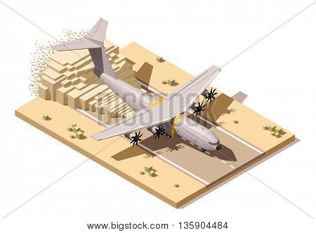 Vector Isometric icon or infographic element representing low poly humanitarian or military cargo airplane landing on dusty