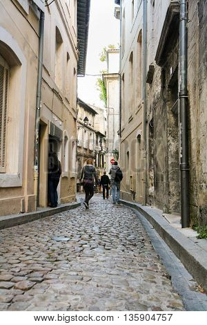 The narrow streets of the French town cobblestone