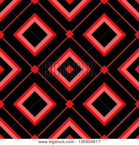 Template with red rhombus.Motif of rhombus.Black background.