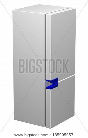 White refrigerator with blue handle isolated on white background. 3D rendering.