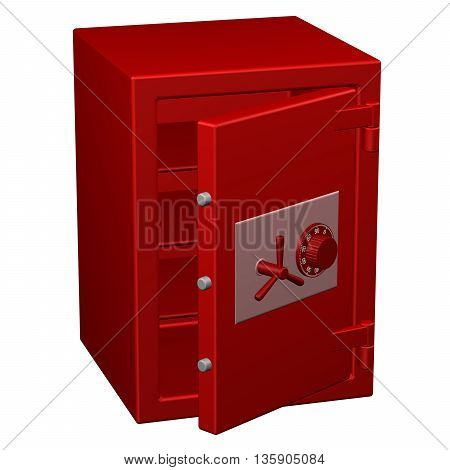 Safe box isolated on white background. 3D rendering.