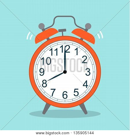 picture of red alarm clock, flat style vector illustration icon