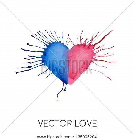 Watercolor painted blue red heart,creative spot. Vector element for your design.