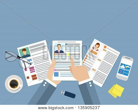Human resources management concept, searching professional staff, work, analyzing resume, documents papers, sticky notes, pen. vector illustration in flat design