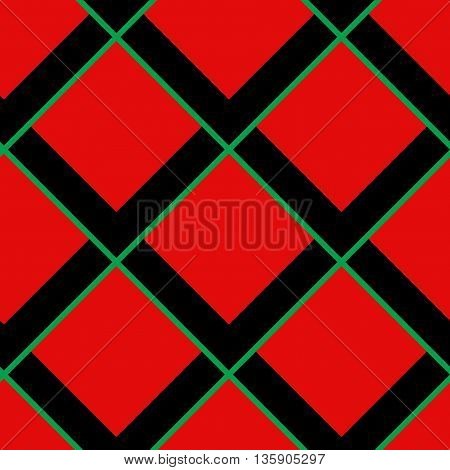 Red background template, black rhombus, green lines.