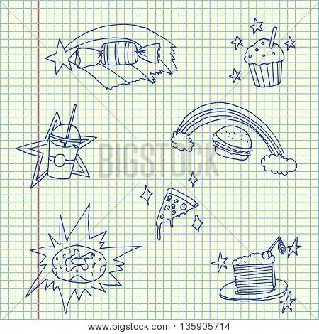 Magic food set. Hand drawn vector stock illustration. Sheet ballpen drawing.