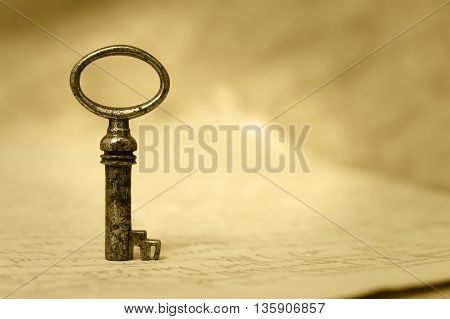 Key - success and solution concept background with copy space