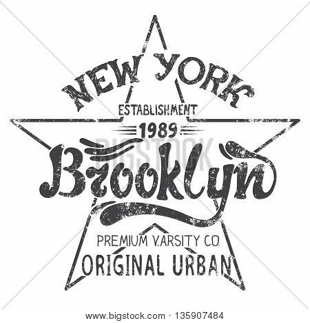 Vintage urban label with text Brooklyn.Print design for wear.Grunge effect.Vector illustration