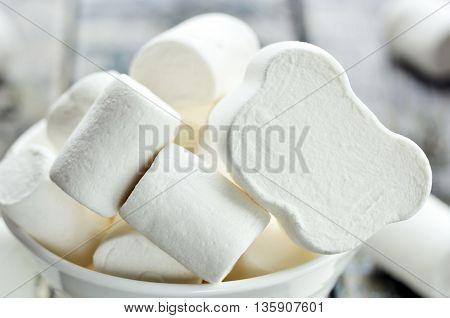 White bear marshmallow close up selective focus