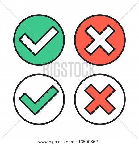 Vector thin line check marks icons set for web and mobile apps. Premium quality. Modern outline flat vector checkmarks isolated on white background