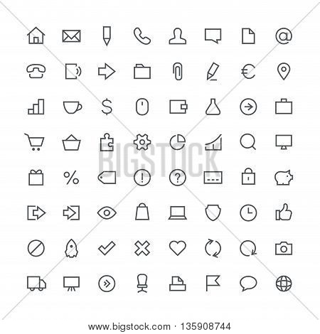 Business, office, contacts, shop, money, system and website total outline vector icon set - 64 different symbols on the white background