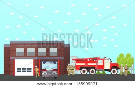 Fire fighting department vector banner. Fire station and firefighters. Truck and building.