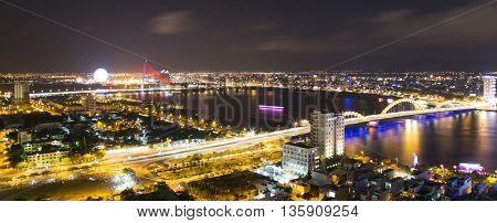 Da Nang, Vietnam - Jun 20, 2016: Skyline cityscape view from a tower's rooftop of Da Nang beach city, central Vietnam. Da Nang is one of the most dynamic city in the country.