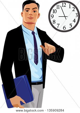 office manager under clock