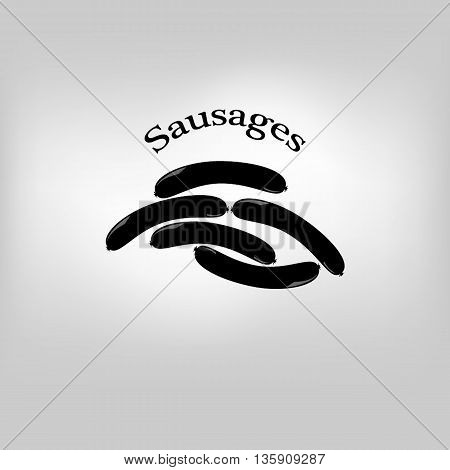 Vector icon tasty sausage illustration on background