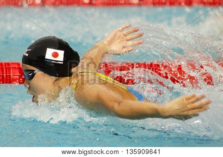 BARCELONA - JUN, 11: Japanese swimmer Natsumi Hoshi swimming Butterfly during the Trophy Ciutat de Barcelona in Sant Andreu Club, June 11, 2016 in Barcelona, Spain