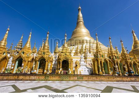 Shwedagon Paya is the most sacred golden buddhist pagoda in Myanmar. Yangon, Myanmar