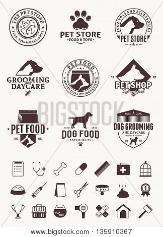 Set of vector pet logo and icons. Vector logo for pet club or shop pet center or barberry pet sport club or veterinary clinic. Pet and veterinary icons set.