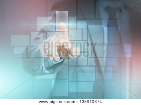 Hand of businessman touching cell on virtual screen