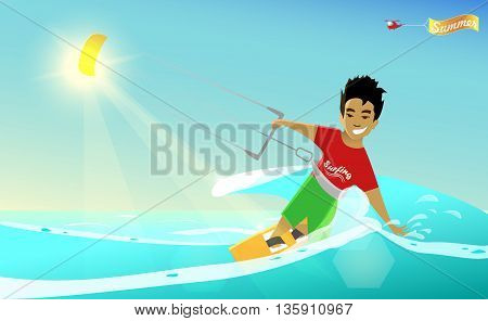 Kitesurfing. Cartoon stylized summer poster. Vector illustration. Young kitesurfer. Halicopter with