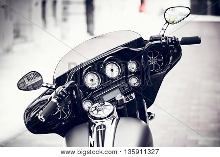 close details of a classic motorcycle, vintage