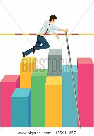Business men jumping with high pole,  Company  concepts
