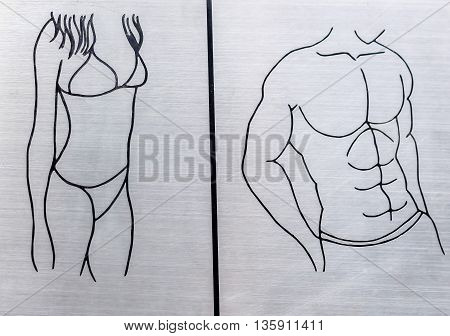 sign of woman and man toilet wc symbol