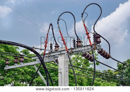 Electric pillar with transformer in the electric network. Outdoor view / Electrical powered pillar In Bangkok, Thailand (electric, pillar, power)