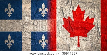 Image relative to politic relationships between Canada and Quebec. National flags textured by concrete