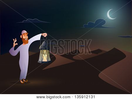 Arabic man keeps illuminated lantern in the desert at night sky with an crescent moon.Ramadan Kareem vector illustration