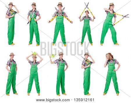 Collage of young woman with shears on white