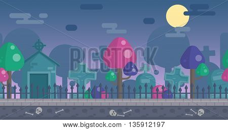 Seamless parallax effect ready spooky night graveyard background for mobile apps and design. Scary gravestones, crypt, fancy trees, sculls over the night sky.
