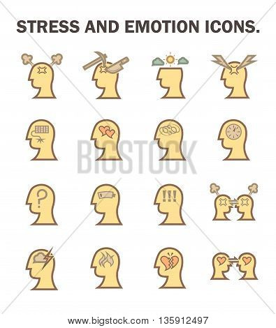 Stress and emotion vector icon set isolated on white background.