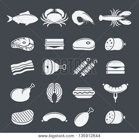 Vector Meat Icons Set
