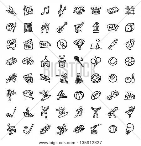 black and white hand drawn icons - SPORTS & LEISURE