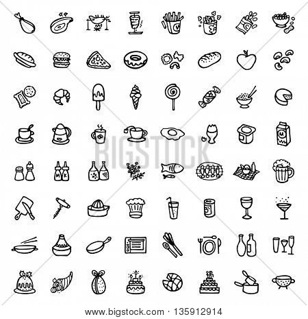 black and white hand drawn icons - FOOD & COOKING