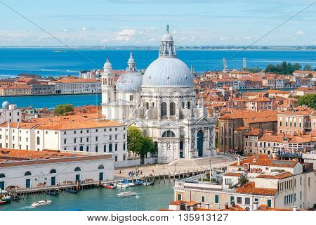Aerial view of the lagoon and the church of Santa Maria della Salute. Venice, Italy
