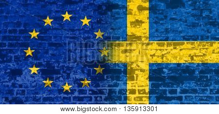 Image relative to politic relationships between European Union and Sweden. National flags textured by brick wall.
