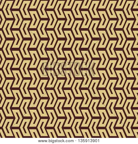 Geometric vector pattern with arrows. Seamless abstract background. Brown and golden colors